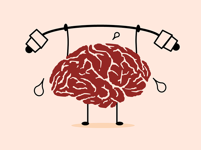 cartoon brain lifting weights