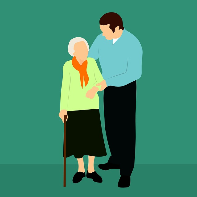 cartoon of older woman and male caregiver. See how respite care can be beneficial.