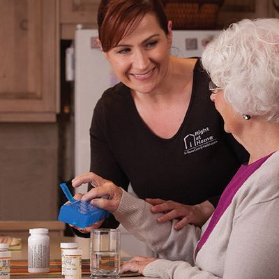 Caregiver helping senior